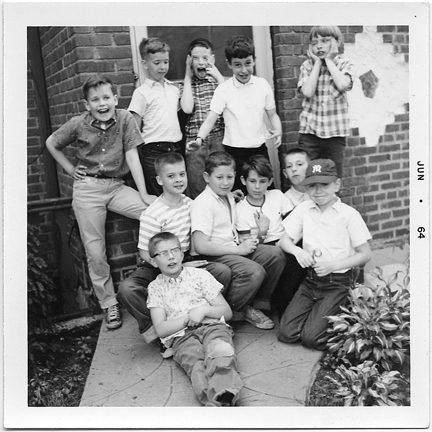 I'm the nine-year-old kid sitting down pointing to himself already as if to say Who, me? It was the kind of Polaroid you had to smear that pink, Chapstick-like finisher on that always smelled so intriguing. In 1964, my interests revolved around Soupy Sales, Willie Mays, The Three Stooges, and comic books.
